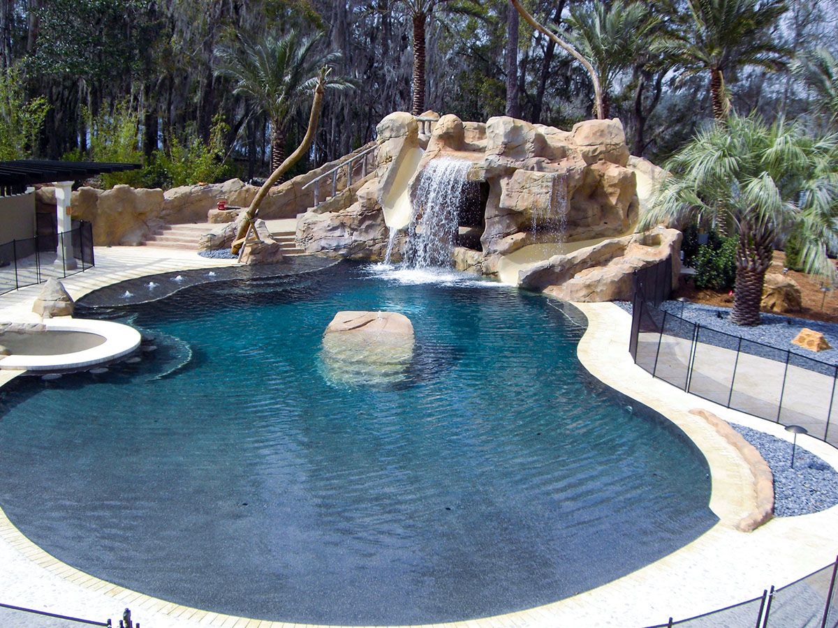 Grottos waterfalls faux rock south florida sammet for Pool design hours